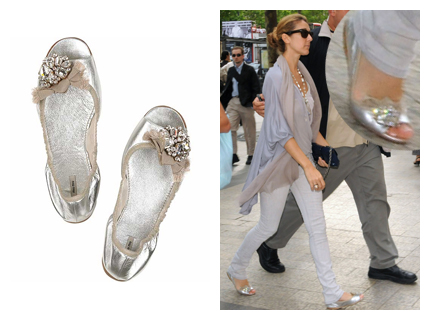celine worn light pink ballerinaflat shoes in nyc
